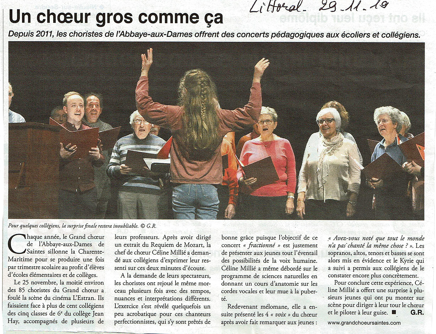 Grand Choeur Saintes - Article Le Littoral - Novembre 2019